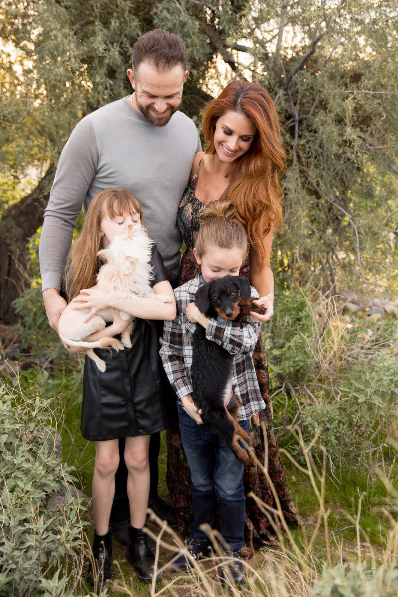 Giants third baseman Evan Longoria, along with his wife, Jaime, their daughter Elle and son Nash.