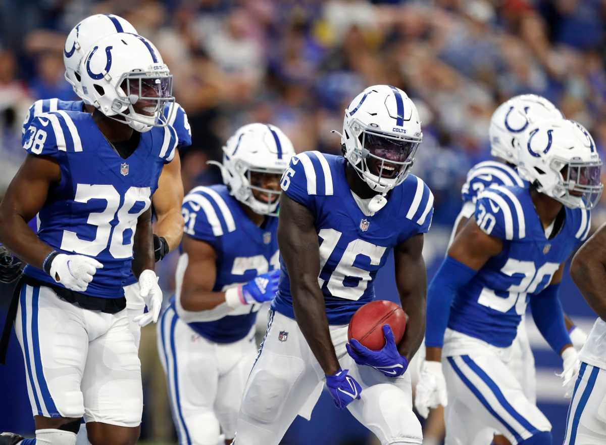 Indianapolis Colts wide receiver Ashton Dulin (16) celebrates after scoring a touchdown during the second half of an Indianapolis Colts game against the Los Angeles Rams on Sunday, Sept. 19, 2021, at Lucas Oil Stadium. The Rams won 27-24.