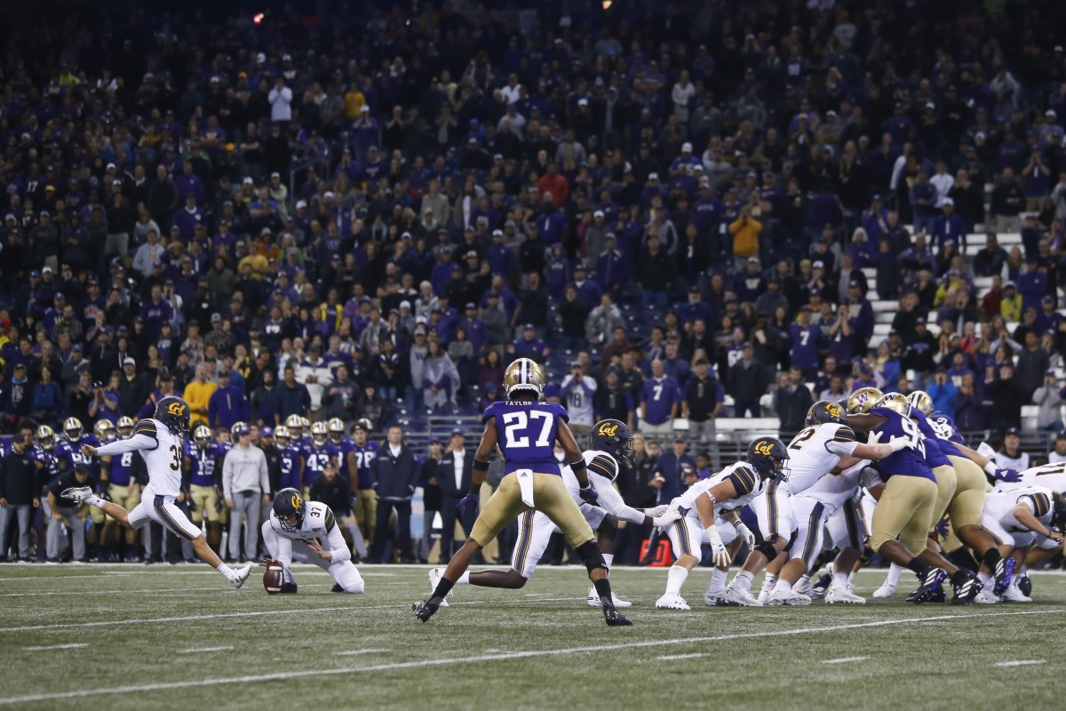 Cal's Greg Thomas kicked a 17-yard field goal with 1:57 left to beat the UW 20-19.
