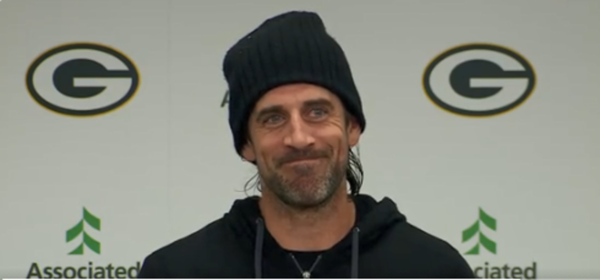 Aaron Rodgers during his postgame press conference, which can be viewed at the end of this story