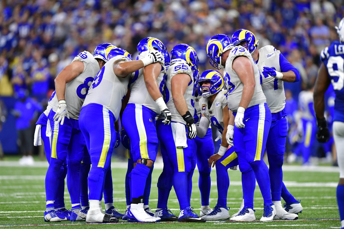 Sep 19, 2021; Indianapolis, Indiana, USA; Los Los Angeles Rams quarterback Matthew Stafford (9) yells to his team during the second half against the Indianapolis Colts at Lucas Oil Stadium. Rams win 24-21. Mandatory Credit: Marc Lebryk-USA TODAY Sports