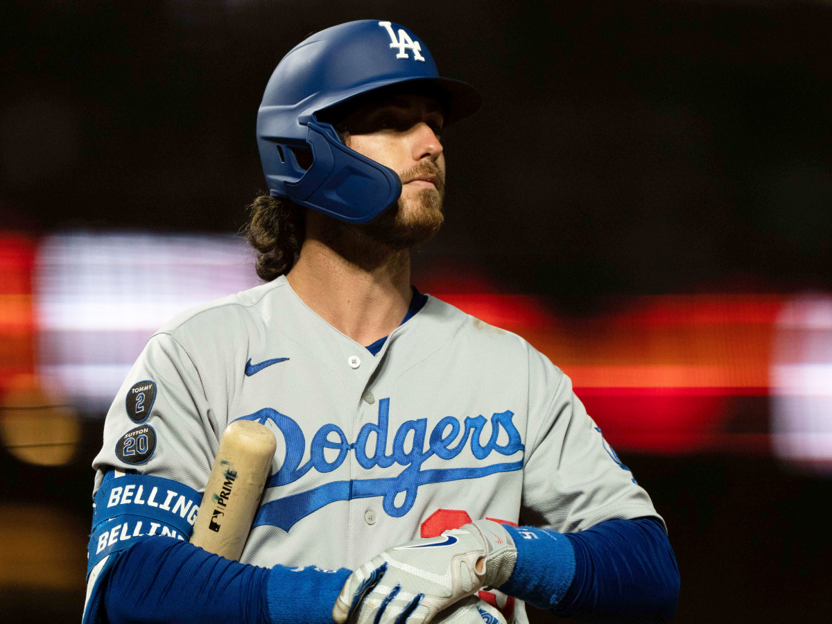Sep 4, 2021; San Francisco, California, USA;  Los Angeles Dodgers center fielder Cody Bellinger (35) during the sixth inning against the San Francisco Giants at Oracle Park.