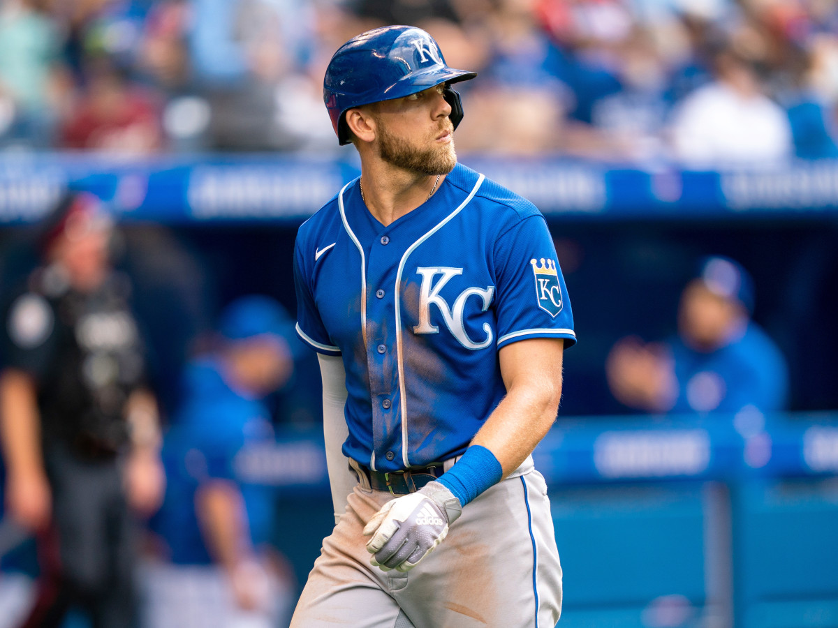 Aug 1, 2021; Toronto, Ontario, CAN; Kansas City Royals third baseman Hunter Dozier (17) reacts after striking out during the eighth inning against the Toronto Blue Jays at Rogers Centre.