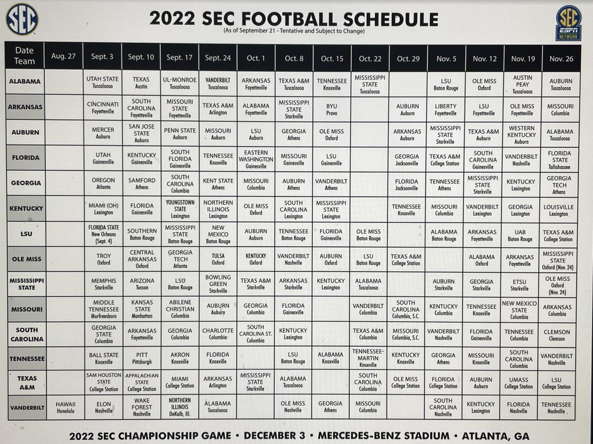 2022 SEC Football Schedule