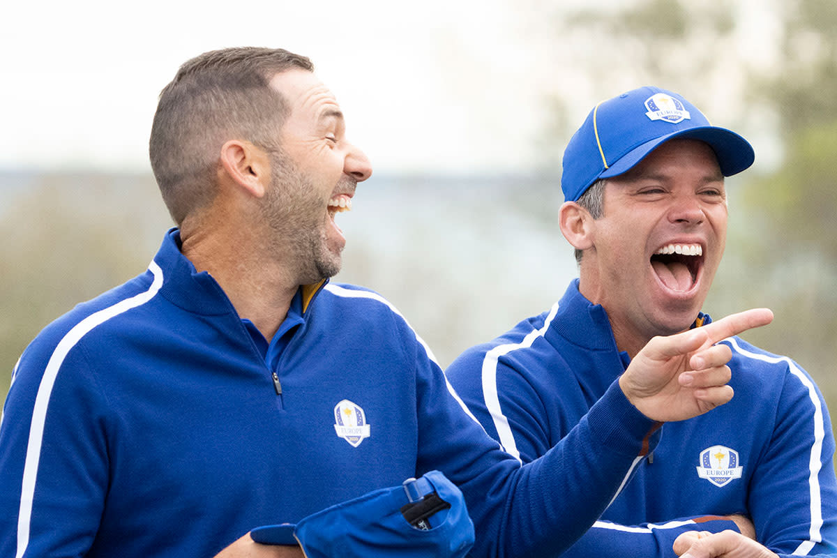 Sergio Garcia and Paul Casey laugh during the European Team photo at Whistling Straits.