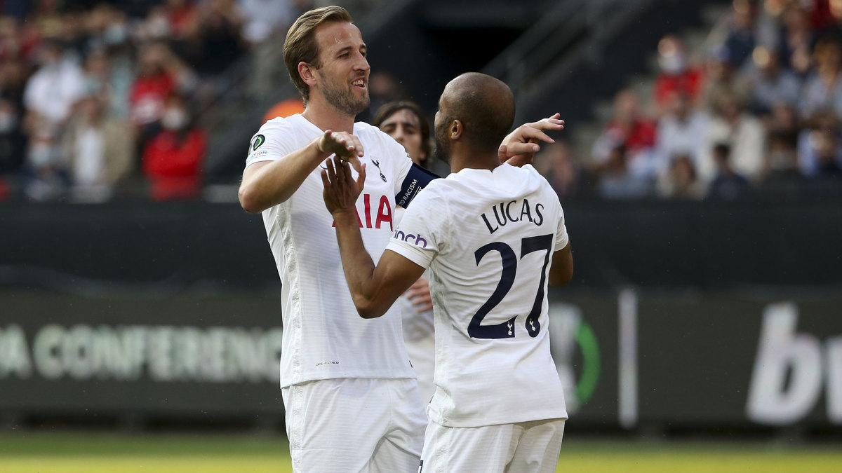Tottenham's Harry Kane and Lucas Moura