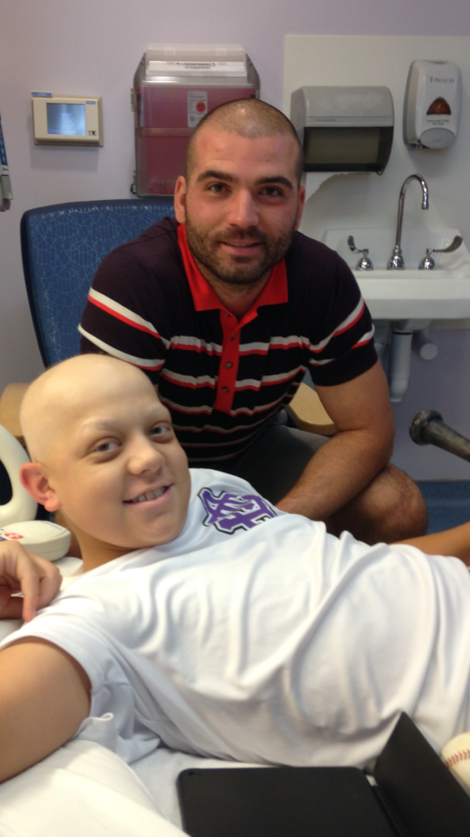 Votto and Alex Shea, then a 15-year-old baseball nut receiving chemotherapy at Cincinnati Children's Hospital in 2016.