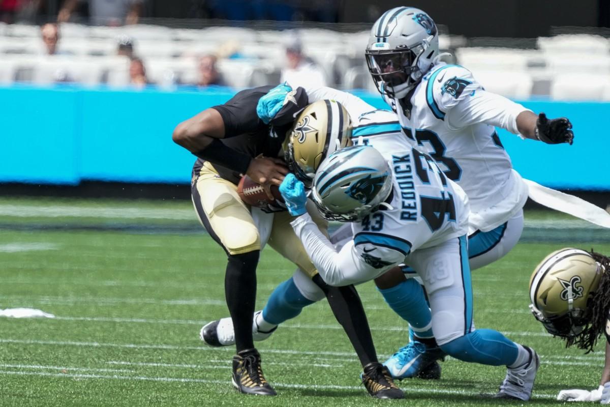 New Orleans Saints quarterback Jameis Winston (2) is sacked by Carolina Panthers linebacker Haason Reddick (43). Mandatory Credit: Jim Dedmon-USA TODAY Sports