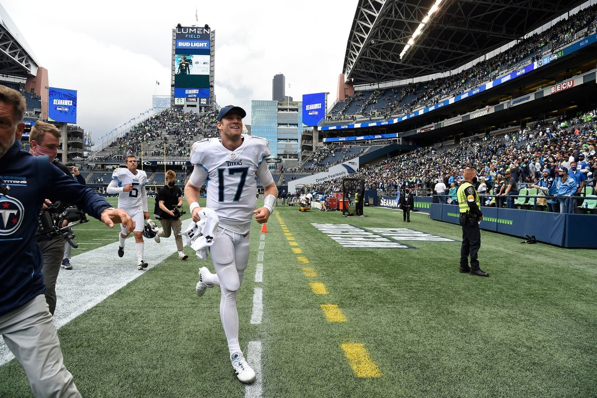 Tennessee Titans quarterback Ryan Tannehill (17) leaves the field after the Titans beat the Seahawks in overtime at Lumen Field Sunday, Sept. 19, 2021 in Seattle, Wash.  Titans Seahawks 177