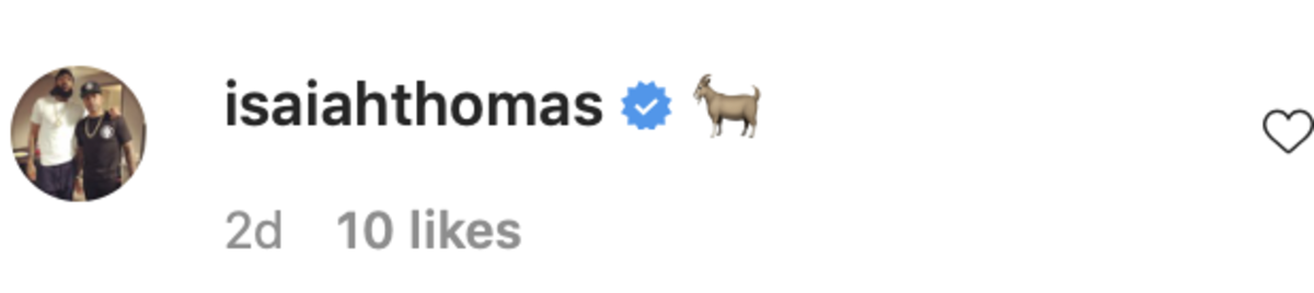 Isaiah Thomas' comment on T.J. Warren's Instagram post on Wednesday, September 21, captured in a screenshot.