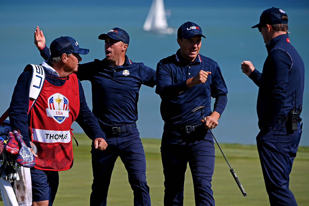 Justin Thomas and Jordan Spieth celebrate Saturday at the Ryder Cup.