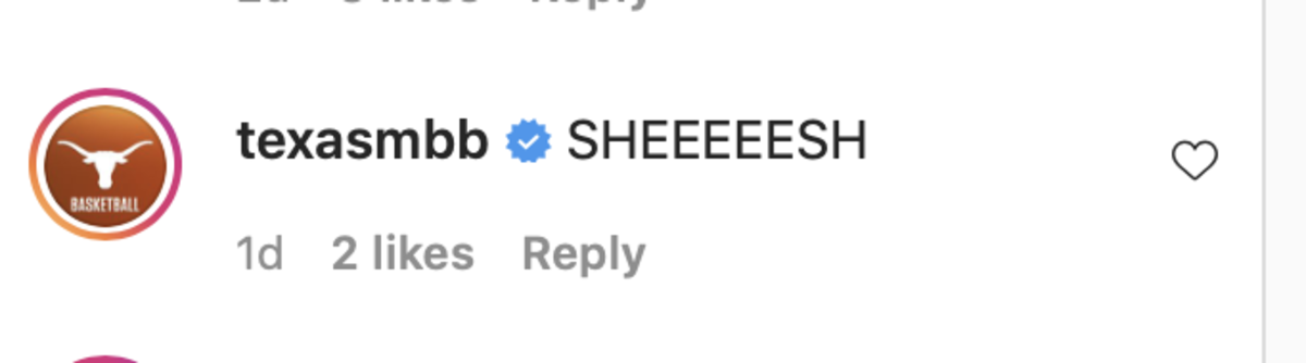 Screenshot captured from the comment Texas Mens' Basketball had on Myles Turner's Instagram post.