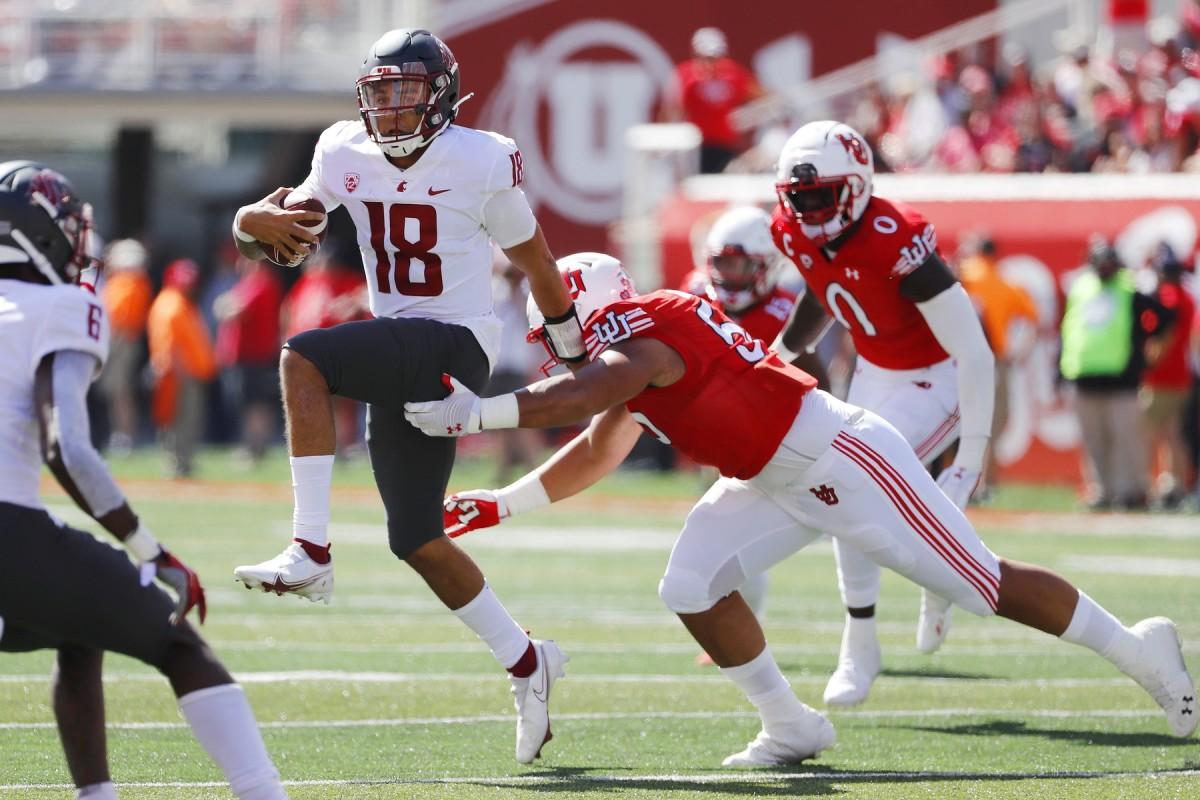 Washington State quarterback Jarrett Guarantano (18) passed for 248 yards against Utah, but he threw three interceptions. Photo by Jeffrey Swinger, USA TODAY Sports