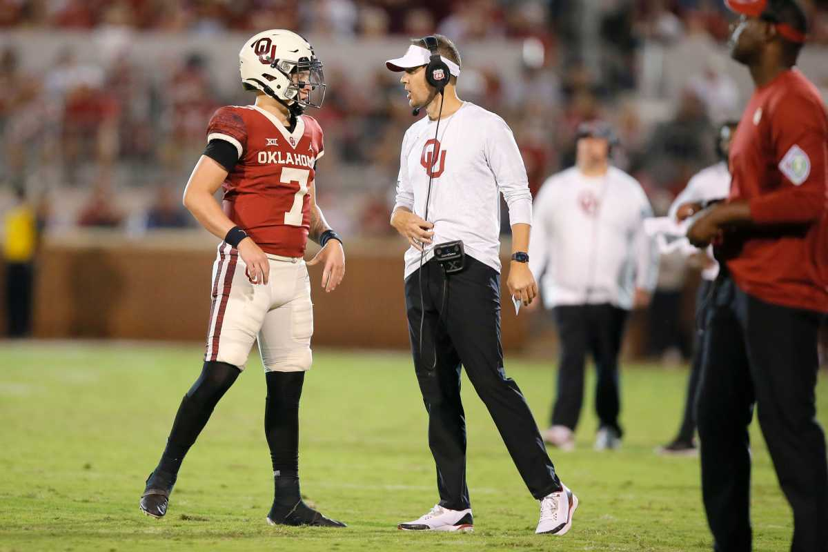 Spencer Rattler and Lincoln Riley