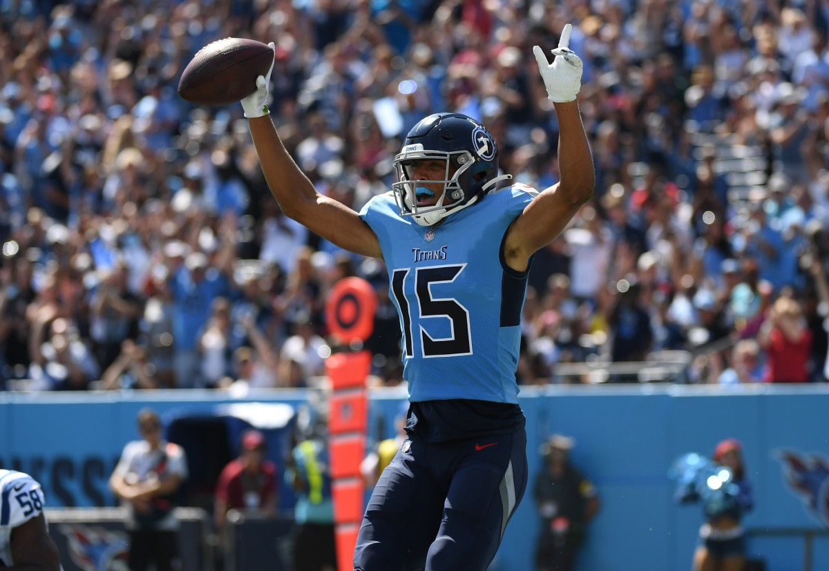 Tennessee Titans wide receiver Nick Westbrook-Ikhine (15) celebrates after a touchdown during the first half against the Indianapolis Colts at Nissan Stadium in Nashville, Tenn. (Christopher Hanewinckel?USA TODAY Sports)