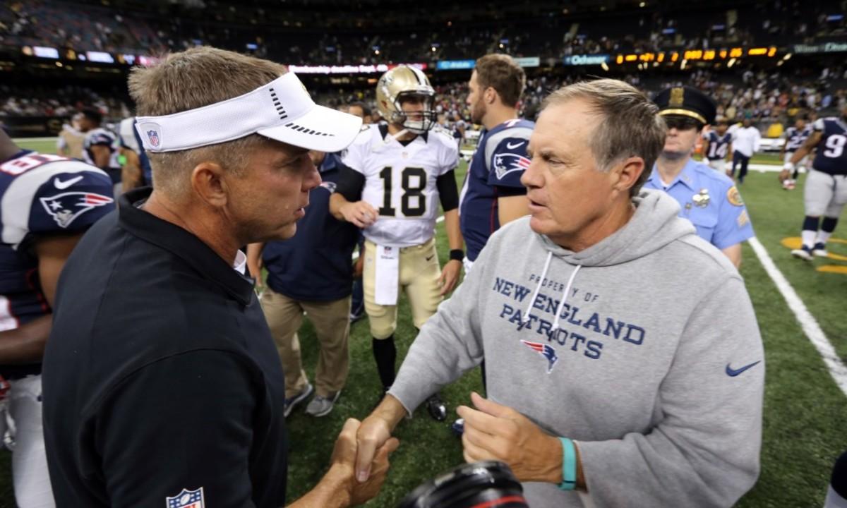 Saints coach Sean Payton (left) and Patriots coach Bill Belichick (right). Credit: Patriots Wire - USA TODAY