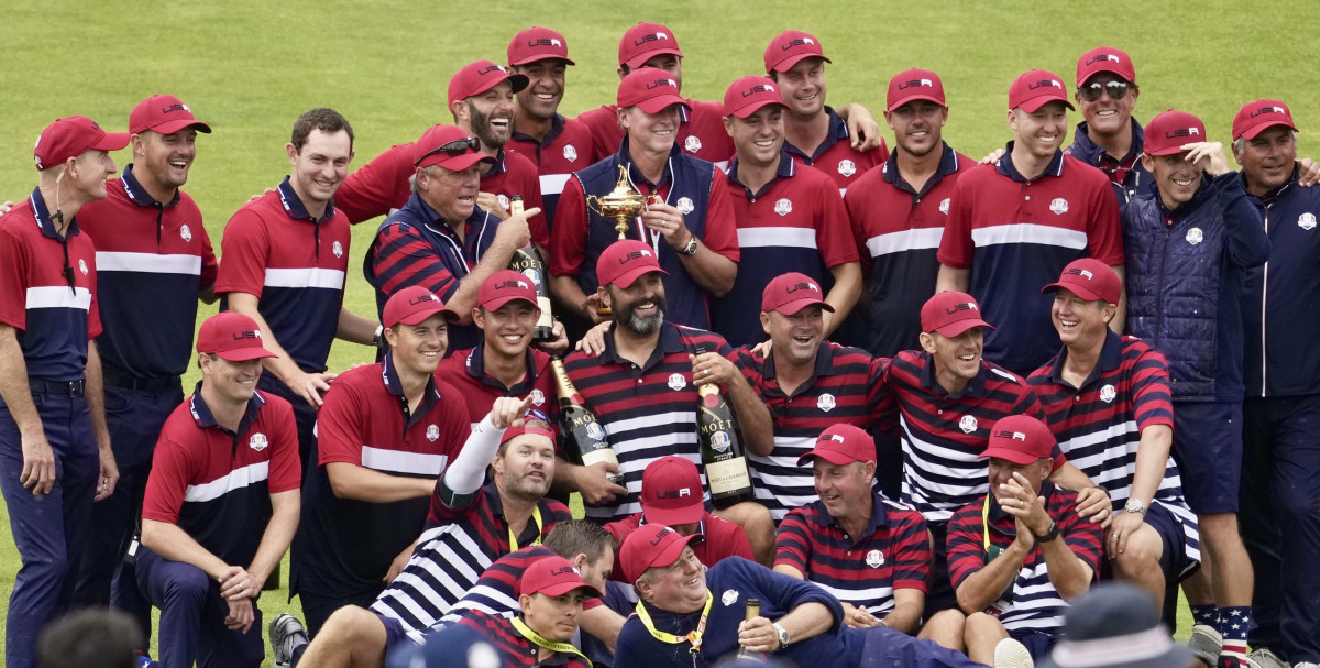 The Americans celebrate their victory