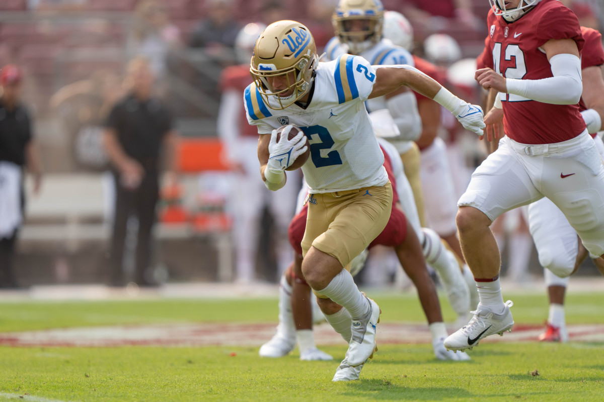 UCLA Bruins wide receiver Kyle Philips (2) returns the football during the first quarter against the Stanford Cardinal.