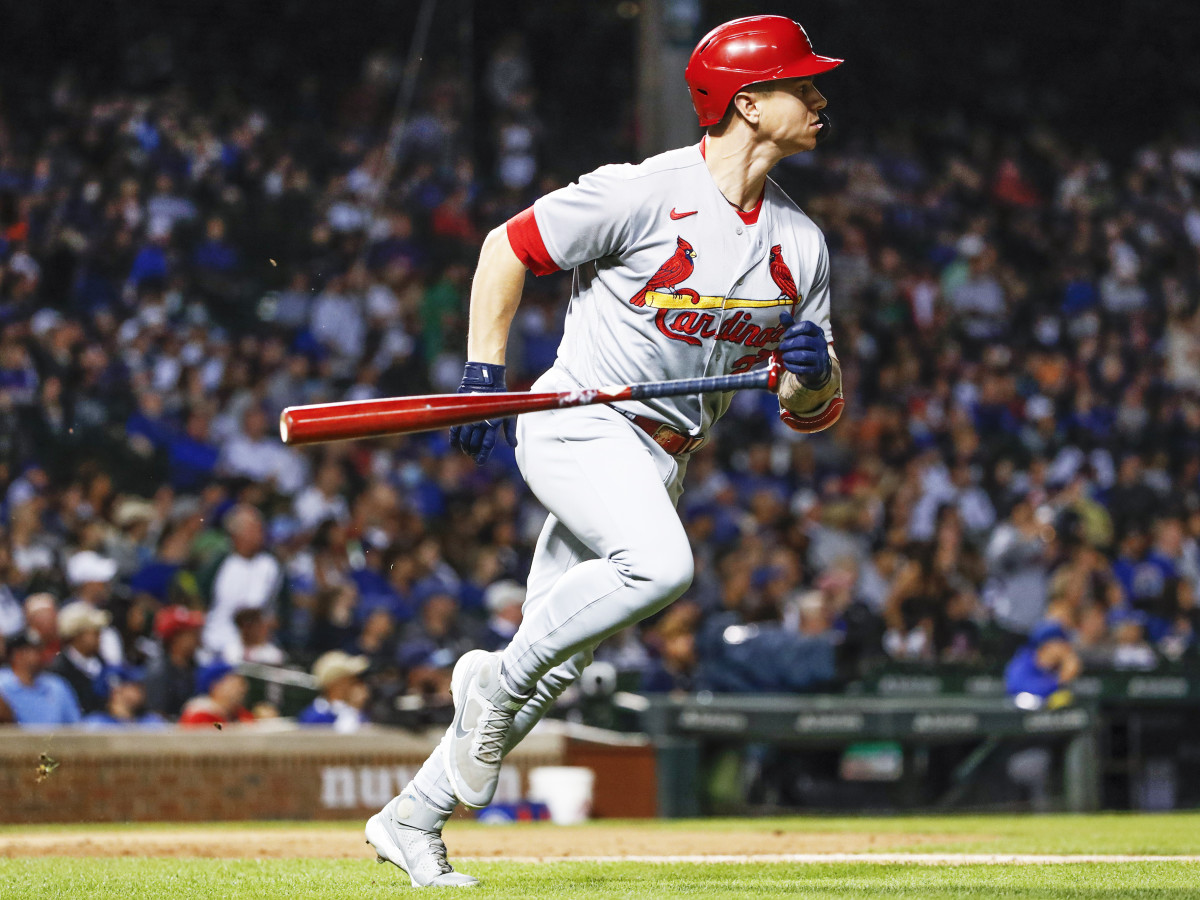 Sep 24, 2021; Chicago, Illinois, USA; St. Louis Cardinals left fielder Tyler O'Neill (27) rounds the bases after hitting a three-run home run against the Chicago Cubs during the second inning of game 2 of a doubleheader at Wrigley Field.