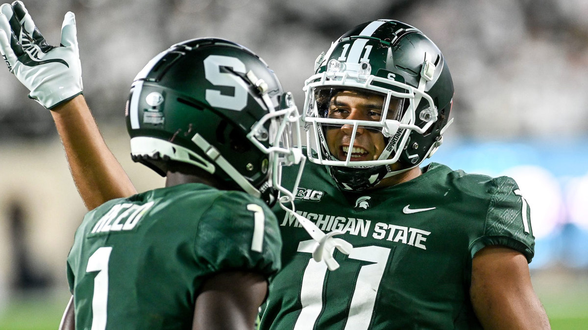Michigan State players celebrate during their win over Nebraska