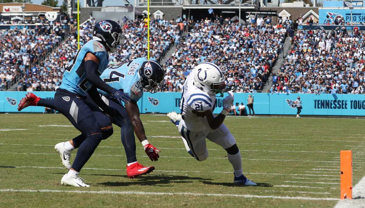 Nyheim Hines, running back for Indianapolis, dives in for this touchdown during first half action on Sunday, Sept. 26, 2021, at Nissan Stadium in Nashville. Indianapolis Colts And Tennessee Titans At Nissan Stadium In Nashville Tenn Sunday Sept 16 2021 In Nfl Week 3