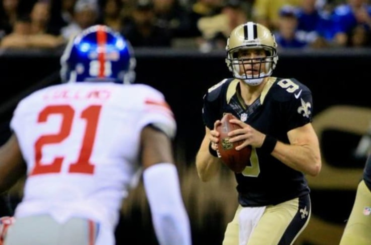 Former New Orleans Saints QB Drew Brees has a record-breaking day against the Giants in 2015. Credit: nfl.com