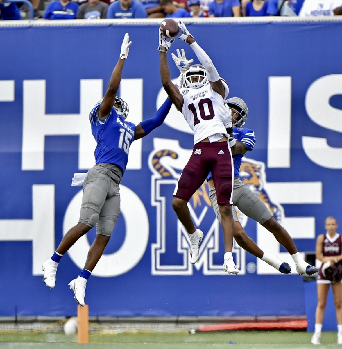 Makai Polk goes high to make a catch against Memphis
