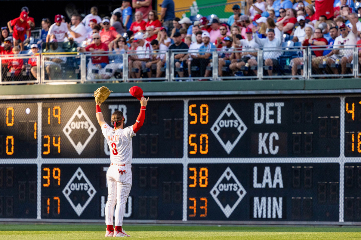 Before every home game, Harper gives a capless bow to the fans sitting in right field.