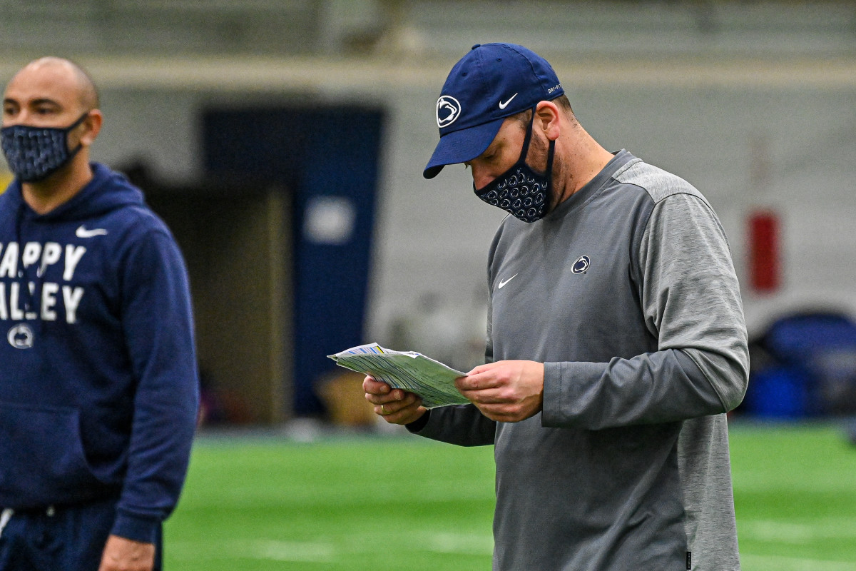 Penn State offensive coordinator Mike Yurcich during spring drills (photo courtesy Penn State Athletics).