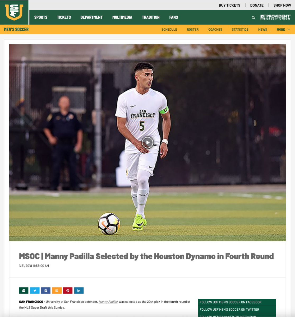 A screenshot of the USF Athletics post on Padilla's selection in the MLS draft.