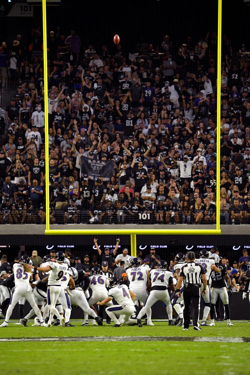 Justin Tucker kicks a game-tying field goal against the Raiders in Week 1 of the 2021 season