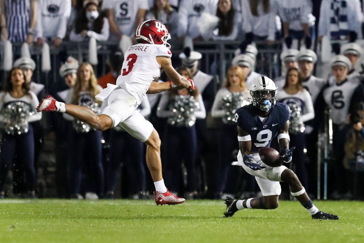 Penn State cornerback Joey Porter Jr. makes an interception vs. Indiana (Matthew O'Haren/USA Today Sports)