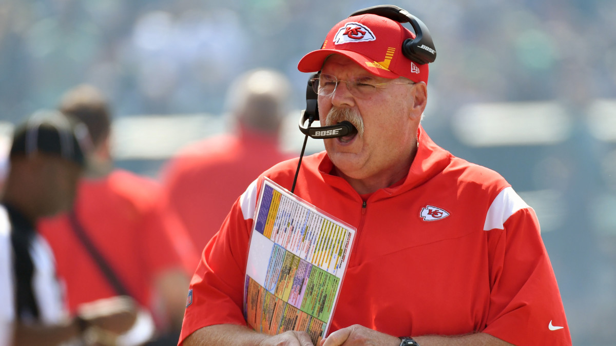 Kansas City Chiefs head coach Andy Reid during the first quarter against the Philadelphia Eagles at Lincoln Financial Field.