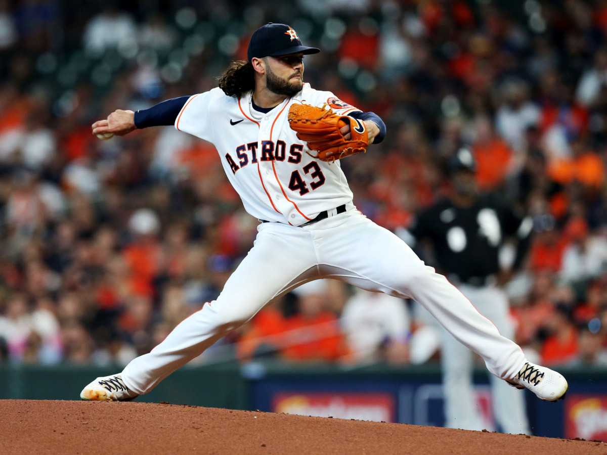 Oct 7, 2021; Houston, Texas, USA; Houston Astros starting pitcher Lance McCullers Jr. (43) throws a pitch against the Chicago White Sox during the first inning in game one of the 2021 ALDS at Minute Maid Park.
