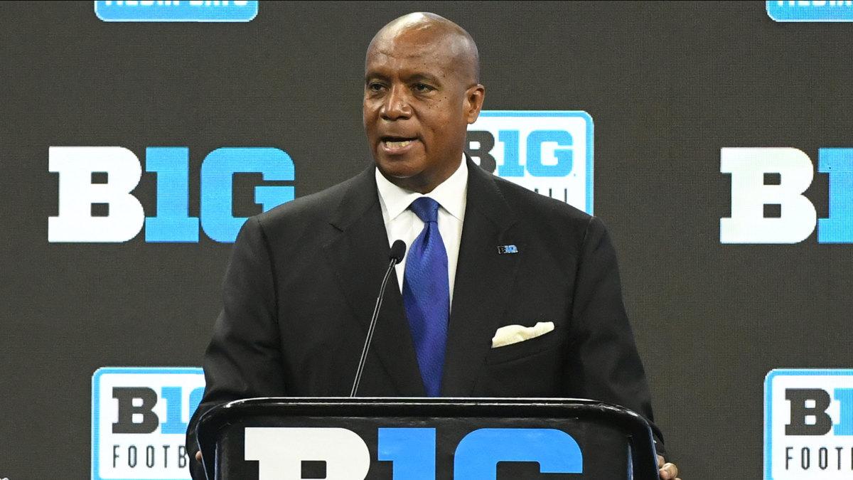 Big Ten commissioner Kevin Warren speaks at football media day