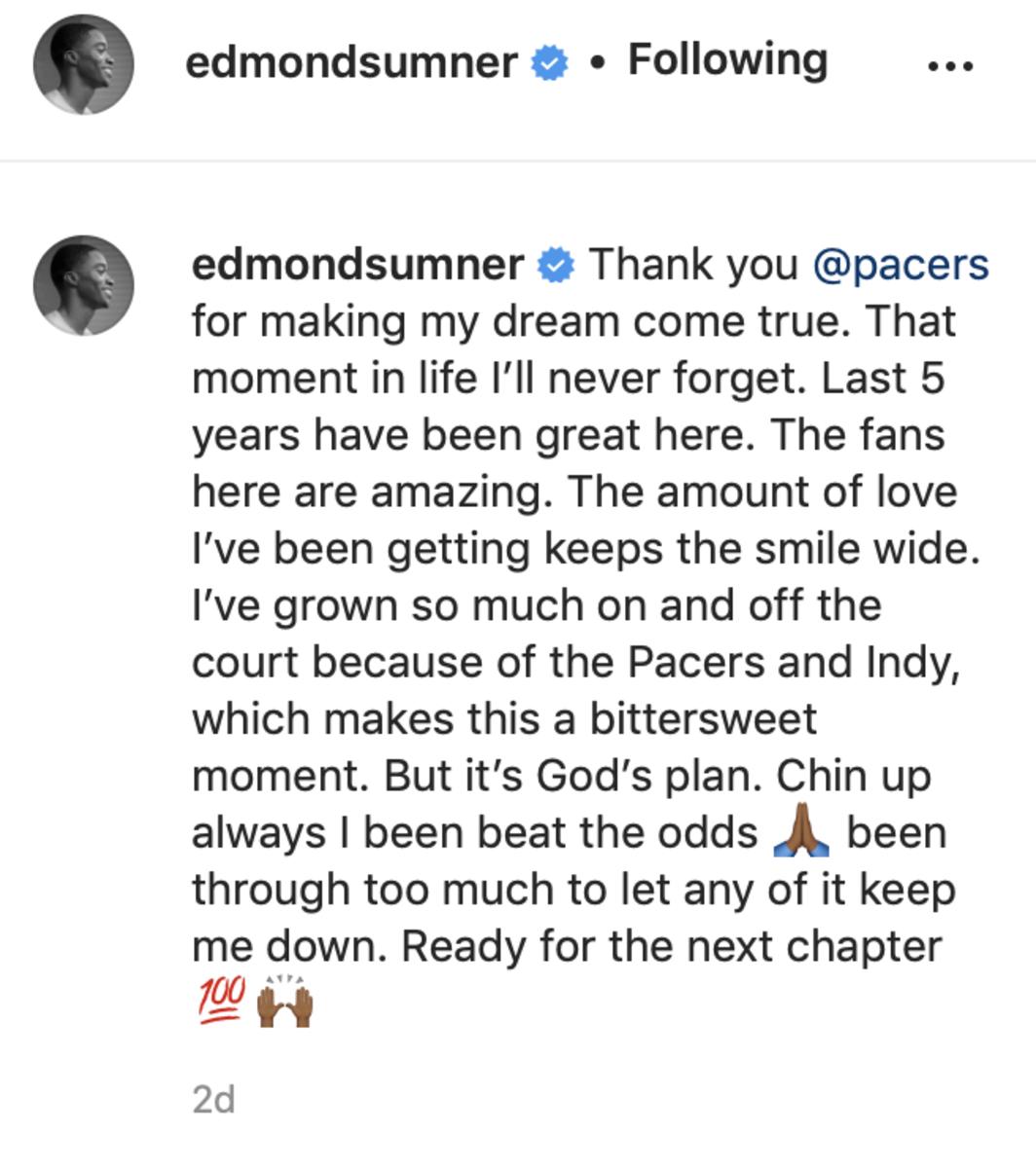 Screenshot captured from Edmond Sumner's Instagram post.