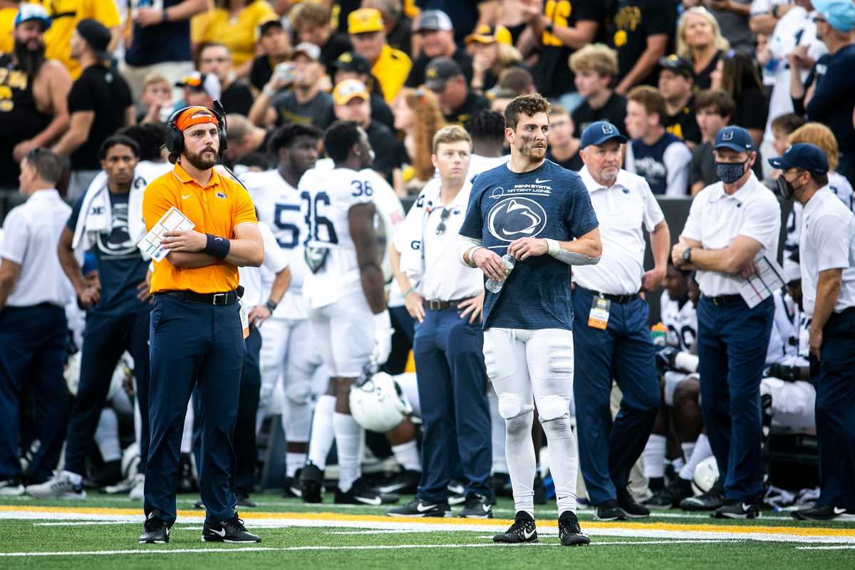 Penn State quarterback Sean Clifford was injured Saturday against Iowa and did not play in the second half. (Joseph Cress/Iowa City Press-Citizen)