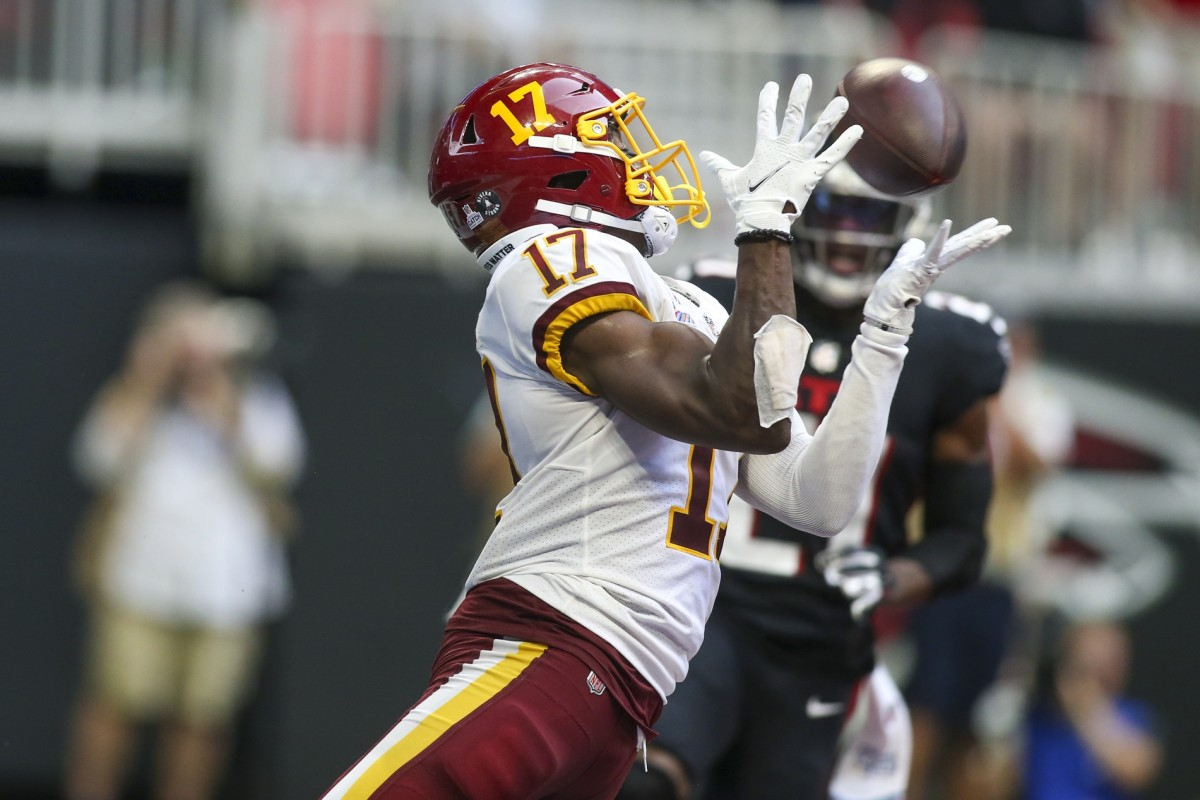 Washington receiver Terry McLaurin (17) catches a pass for a touchdown against the Atlanta Falcons. Mandatory Credit: Brett Davis-USA TODAY