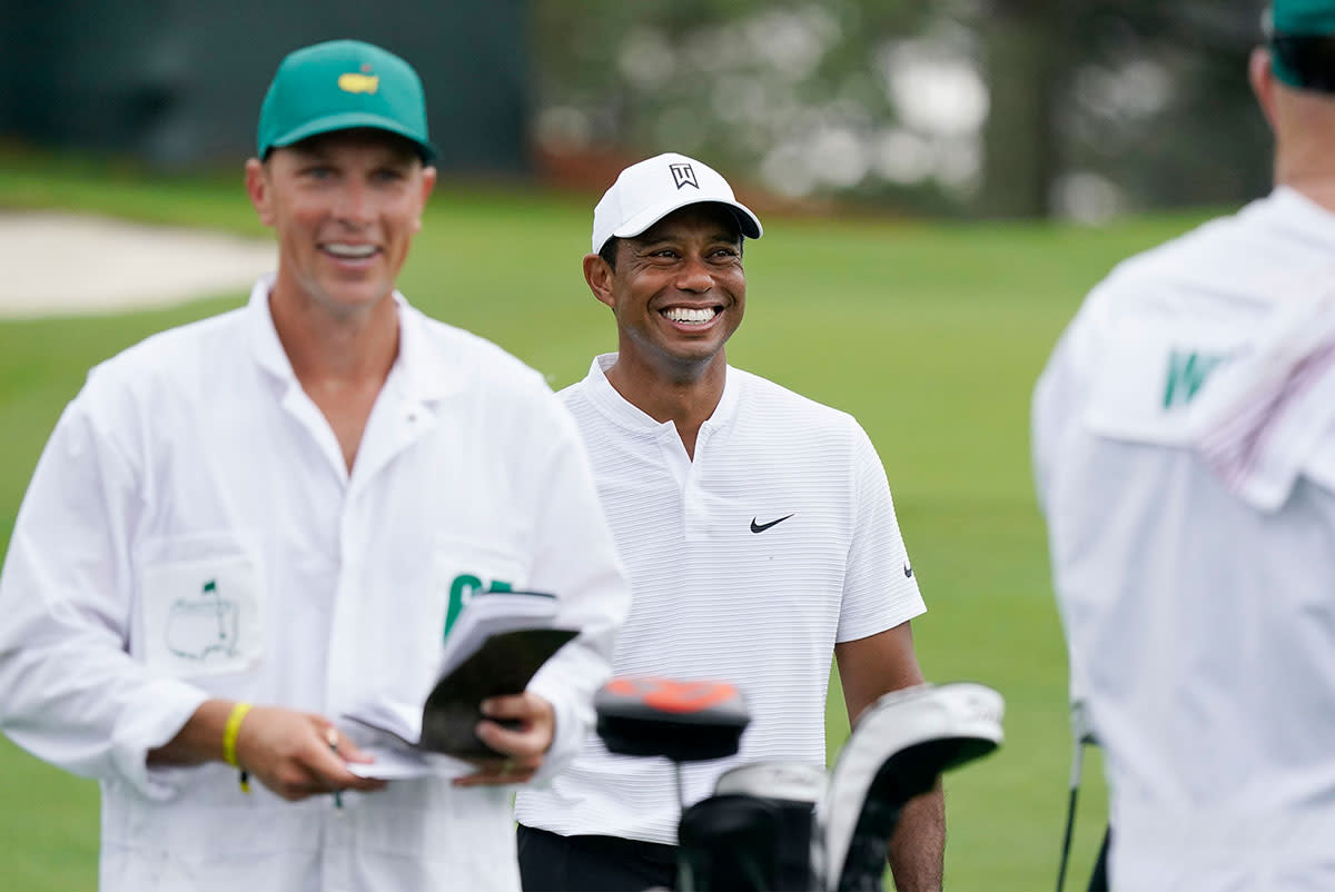 Tiger Woods plays a practice round at the 2020 Masters.