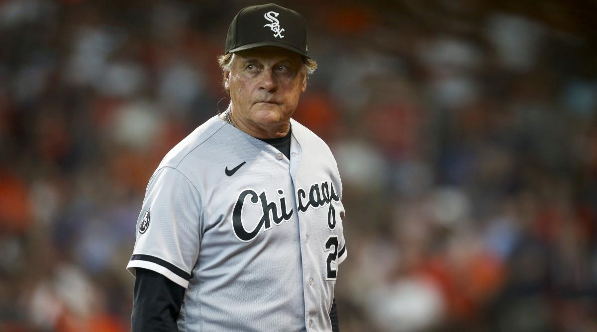 Oct 8, 2021; Houston, Texas, USA; Chicago White Sox manager Tony La Russa (22) walks back to the dugout during the game against the Houston Astros in game two of the 2021 ALDS at Minute Maid Park.