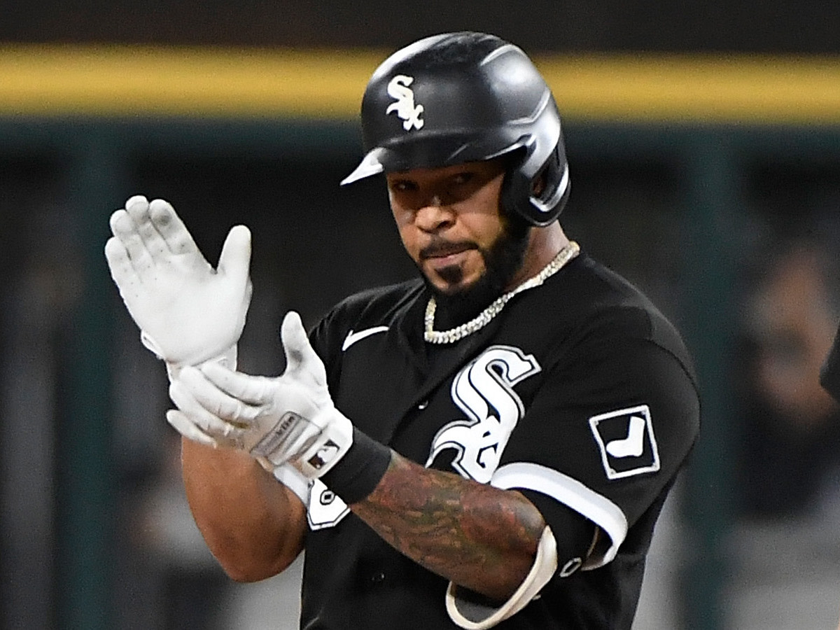 Chicago White Sox right fielder Leury Garcia (28) reacts after hitting a one run double against the Houston Astros during the eighth inning in game three of the 2021 ALDS at Guaranteed Rate Field.