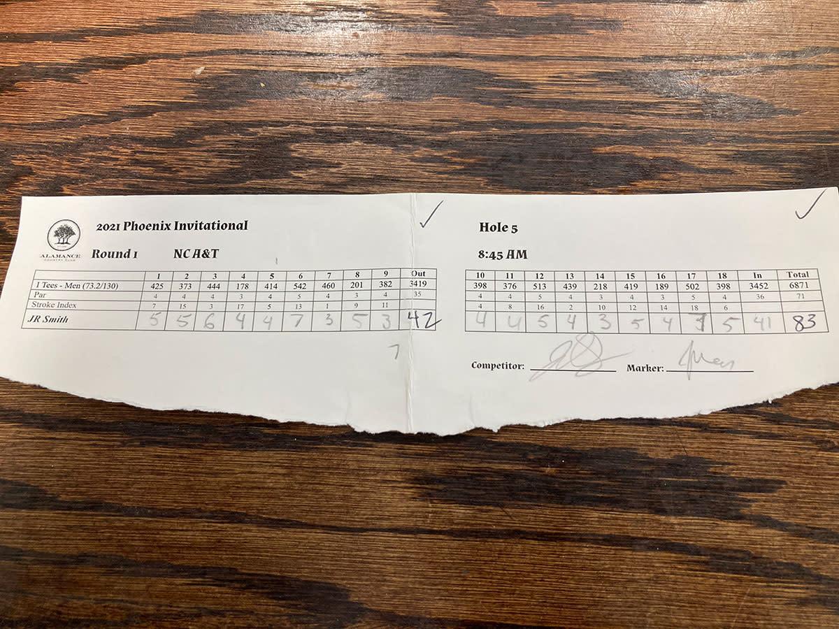 J.R. Smith's scorecard for the morning round.