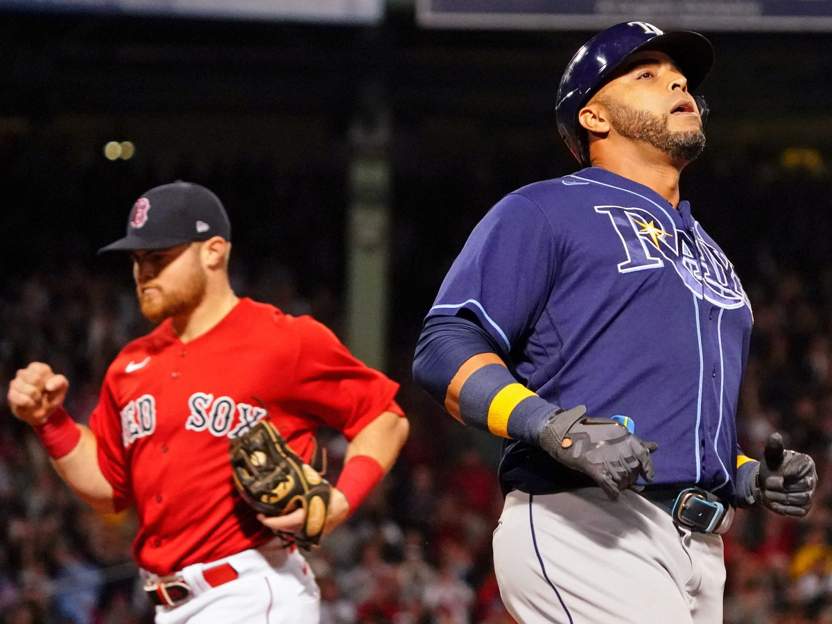 Tampa Bay Rays designated hitter Nelson Cruz (23) reacts after grounding out against the Boston Red Sox to end the eighth inning during game four of the 2021 ALDS at Fenway Park.
