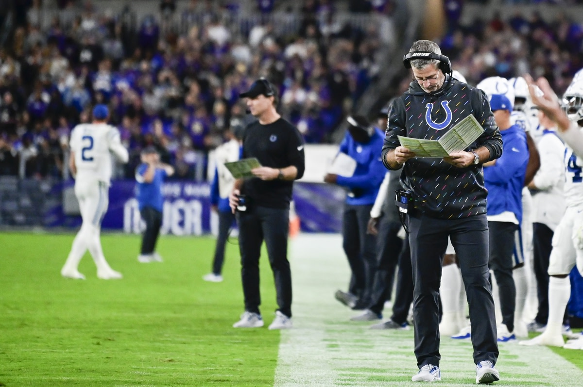 Oct 11, 2021; Baltimore, Maryland, USA; Indianapolis Colts head coach Frank Reich during the first half against the Baltimore Ravens at M&T Bank Stadium. Mandatory Credit: Tommy Gilligan-USA TODAY Sports