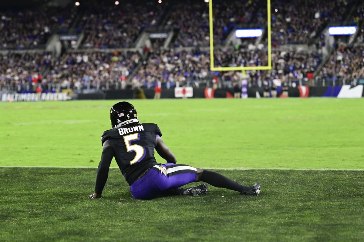 Oct 11, 2021; Baltimore, Maryland, USA; Baltimore Ravens wide receiver Marquise Brown (5) reacts after not being able to make the catch in the end zone against the Indianapolis Colts at M&T Bank Stadium. Mandatory Credit: Tommy Gilligan-USA TODAY Sports