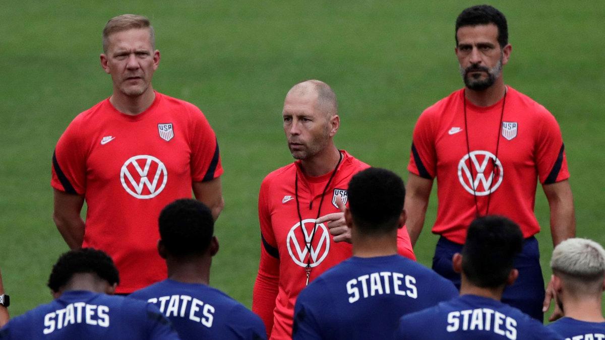 USMNT manager Gregg Berhalter leads training