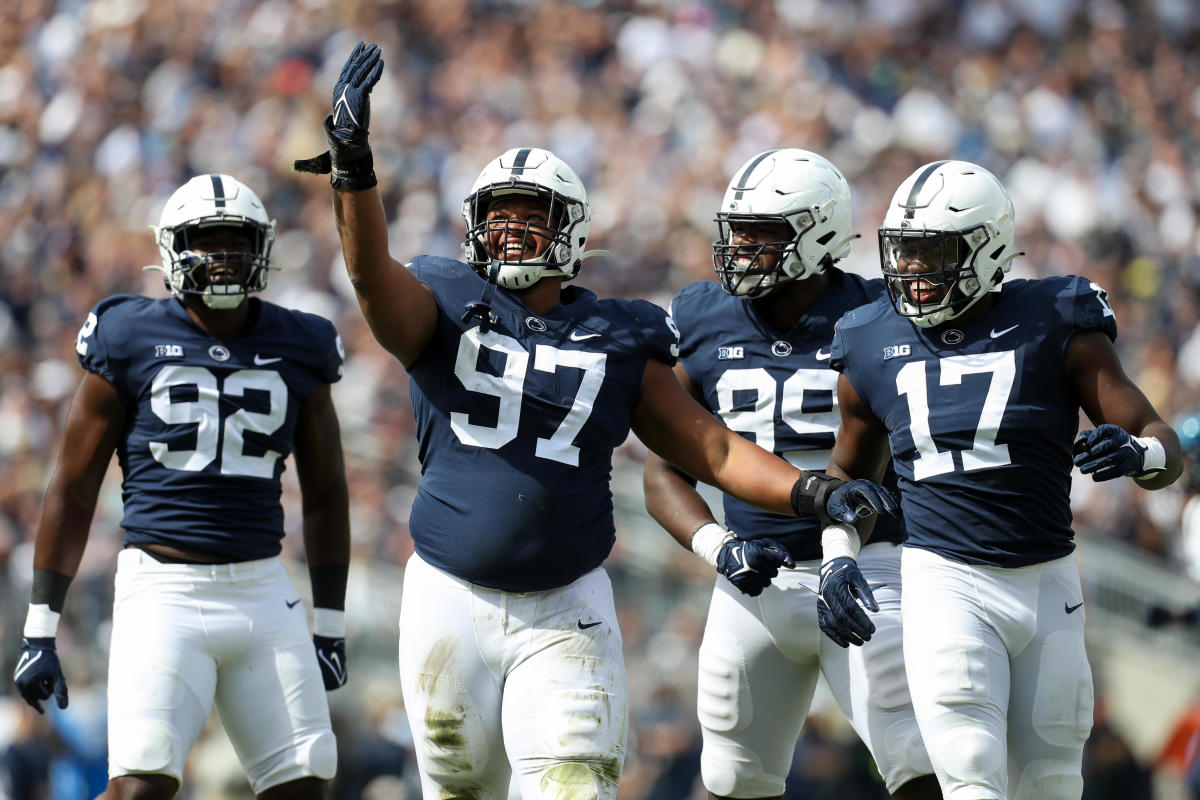Penn State defensive tackle PJ Mustipher (97) will miss the remainder of the season because of an injury. (Matthew O'Haren/USA Today Sports)