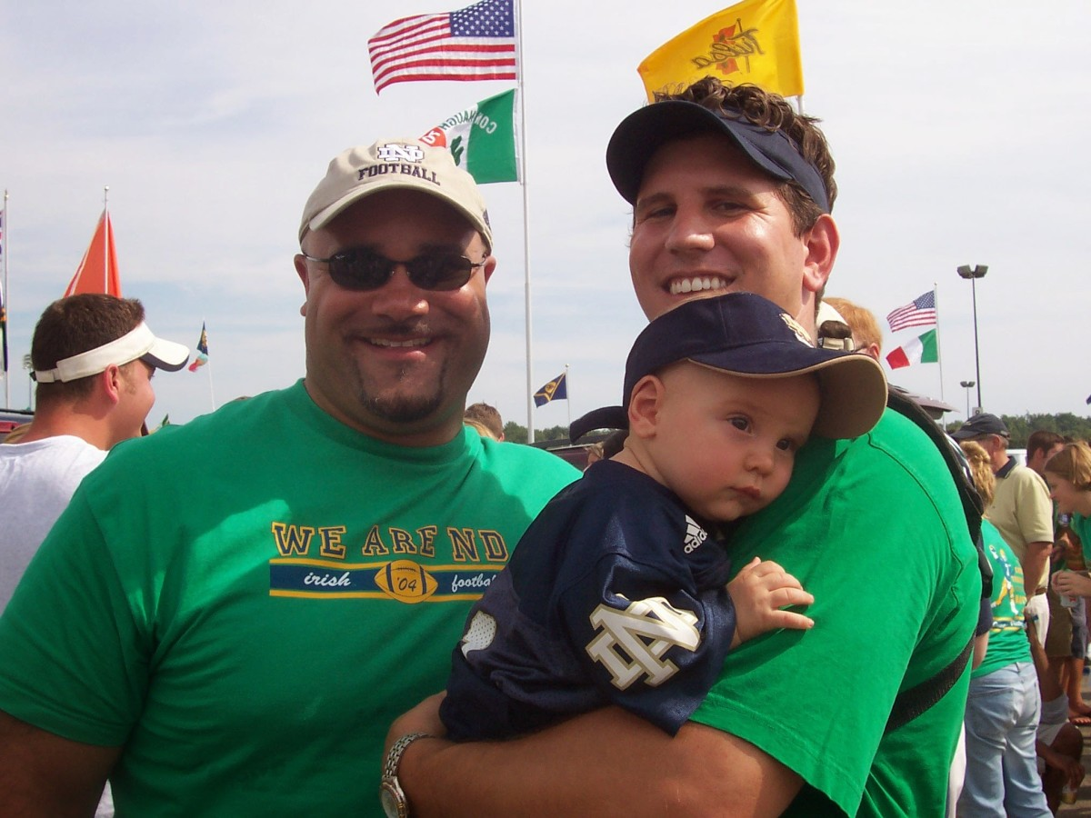 Nolan Ziegler with his father, Bryan Ziegler, and Notre Dame legend Chris Zorich. This was at the Notre Dame/Michigan game in 2004.