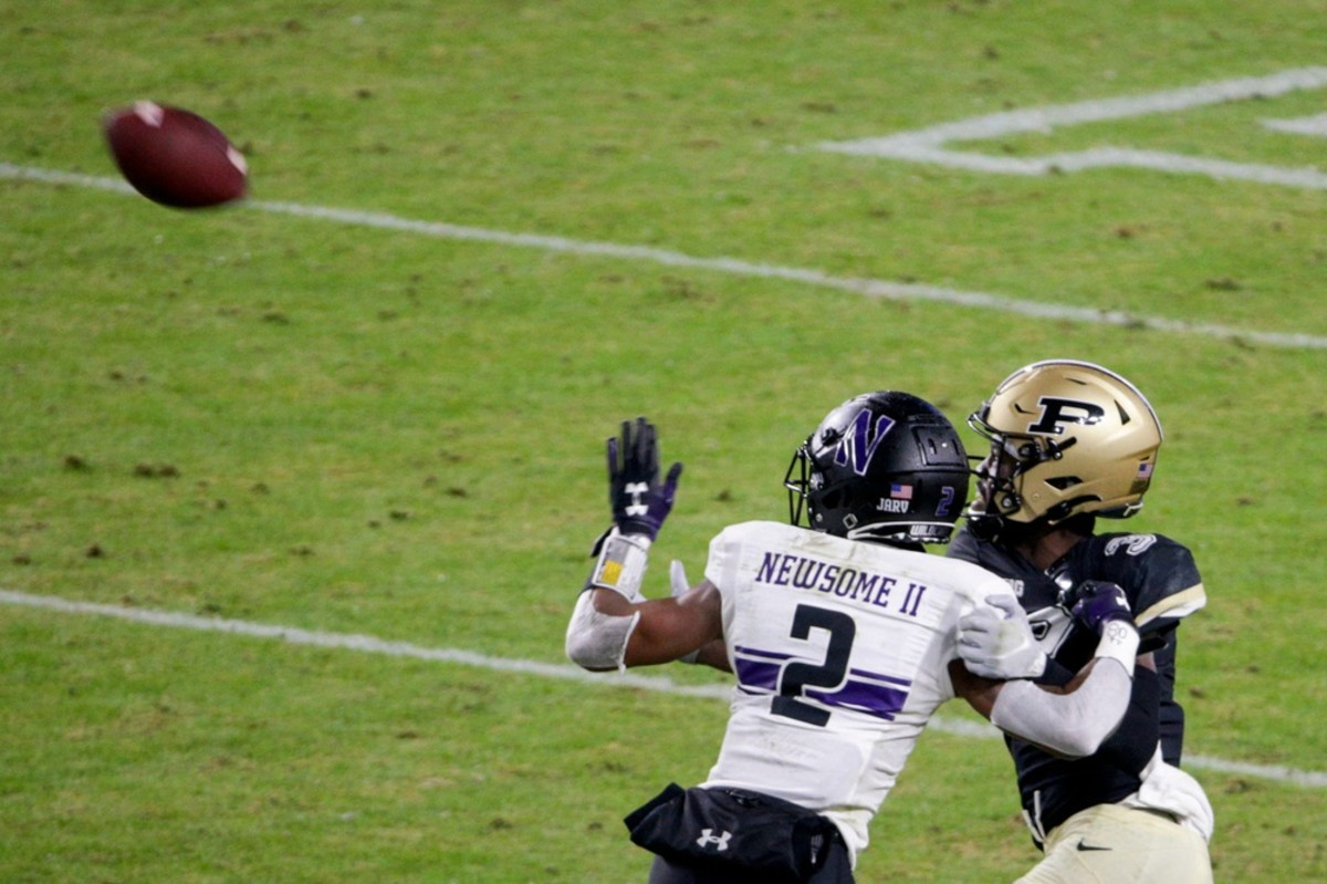 Purdue receiver David Bell (3) is guarded by Northwestern defensive back Greg Newsome II (2)© Nikos Frazier / Journal & Courier via Imagn Content Services, LLC
