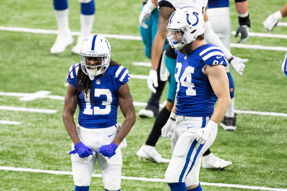 Jan 3, 2021; Indianapolis, Indiana, USA; Indianapolis Colts wide receiver T.Y. Hilton (13) celebrates a first down catch in the first half against the Jacksonville Jaguars at Lucas Oil Stadium. Mandatory Credit: Trevor Ruszkowski-USA TODAY Sports